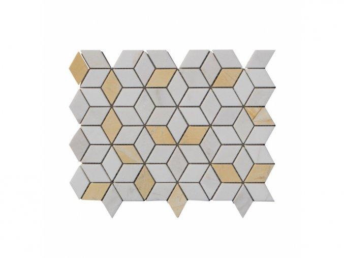 Kamenná mozaika z mramoru, Diamant bílo-žlutý, 28,5 x 22,5 x 0,9 cm, NH202