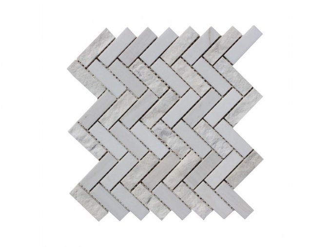 Kamenná mozaika z mramoru, Herringbone white and wooden vein, 31,4 x 31,3 x 0,9 cm, NH212