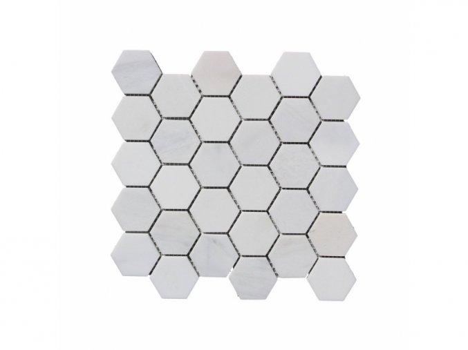 Kamenná mozaika z mramoru, Hexagon milky white, 30,7 x 30,5 x 0,9 cm, NH204