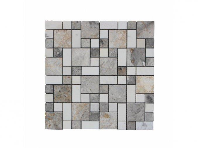 Kamenná mozaika z mramoru, Magic square multicolor, 30 x 30 x 0,9 cm, NH208