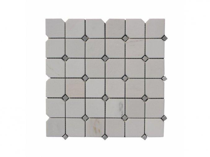 Kamenná mozaika z mramoru, Octagon milky white, 30 x 30 x 0,9 cm, NH206