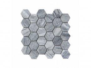 Kamenná mozaika z mramoru, Hexagon silver grey, 30,7 x 30,5 x 0,9 cm, NH205